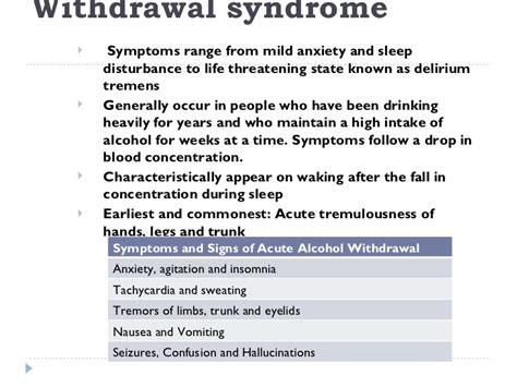 Ala Detox Symptoms by Use Disorder