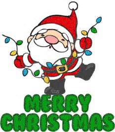 Cute merry christmas graphic text comment santa dances around with a