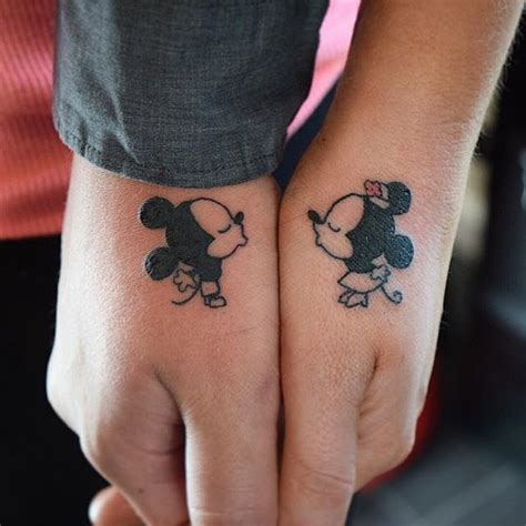 couple kissing tattoo design 19 adorable disney character mickey and minnie mouse