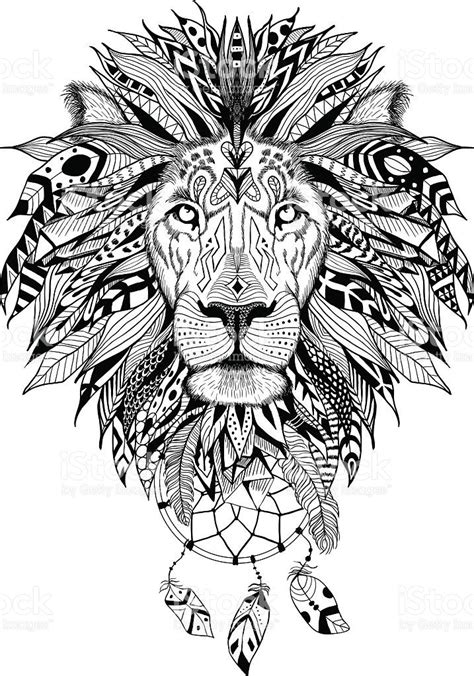 detailed lion coloring pages media istockphoto com vectors detailed lion in aztec style