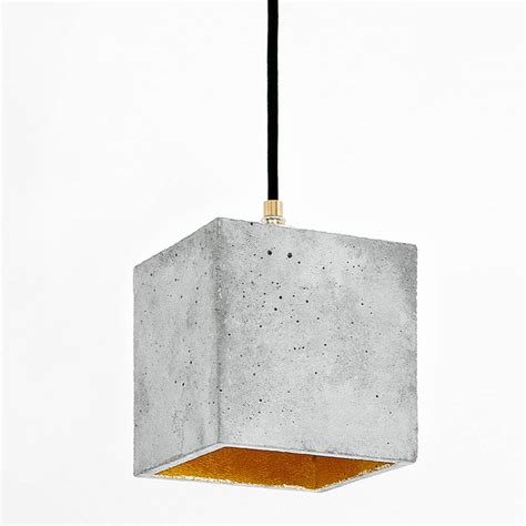 Concrete Pendant Light Cube Shaped Concrete Pendant Light Thick Shade With Pores Warm Glow Inside Black Metal Staff