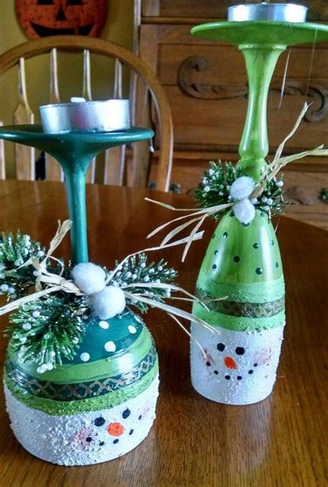 Billige Kerzenhalter by Wine Glass Snowmen Candle Holders