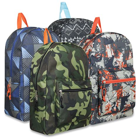 wholesale 17 inch printed backpacks boys bags in bulk
