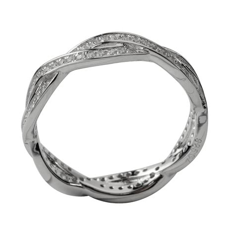 sterling silver eternity ring with entwined design