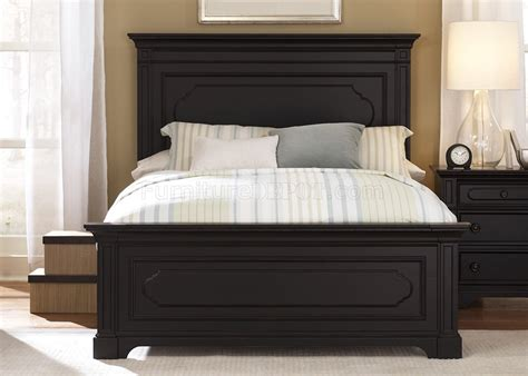 transitional bed black rubbed finish transitional panel bed w optional case