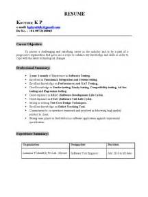 Sample Resume Format For 2 Years Experience In Testing by Resume Kruthik 1 Year Experience In Software Testing