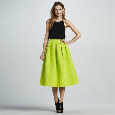 Diskon Midi Flare A Line Skirt bright green flare pleated midi skirt sheinside 27 my wishlist green