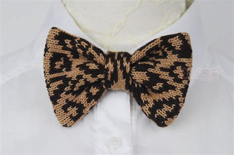 knitted bow pattern free knitted bow tie in leopard pattern on luulla