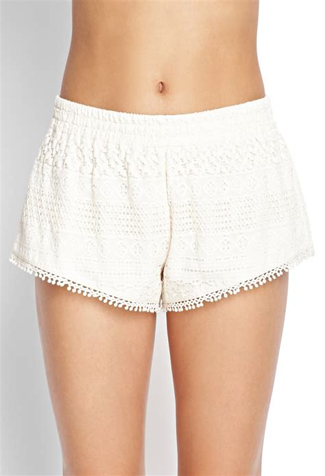 Lace Shorts lyst forever 21 crochet lace shorts in white