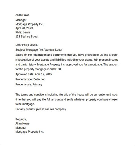 Mortgage Letter From Employer Pre Approval Letter 8 Free Documents In Word Pdf
