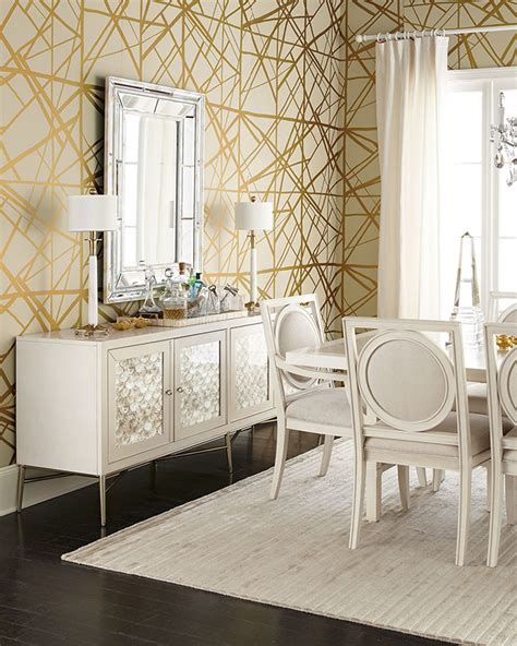 gold wallpaper dining room diy kelly wearstler channels inspired gold tray swoon
