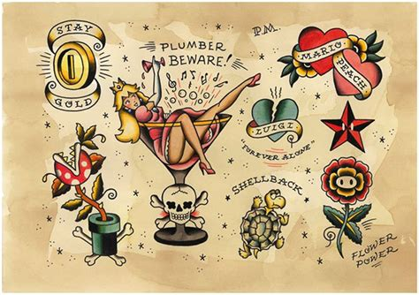 Old School Video Game Tattoo | game over videogame tattoo flash on behance