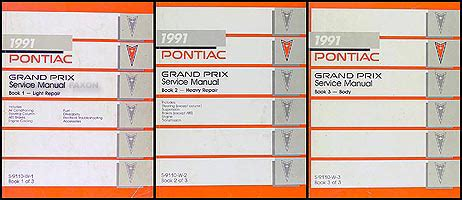 service and repair manuals 1991 pontiac grand prix transmission control 1991 pontiac grand prix repair shop manual original 3 volume set