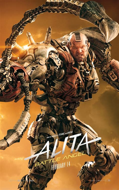 jackie earle haley alita battle angel see the different cyborgs with alita battle angel