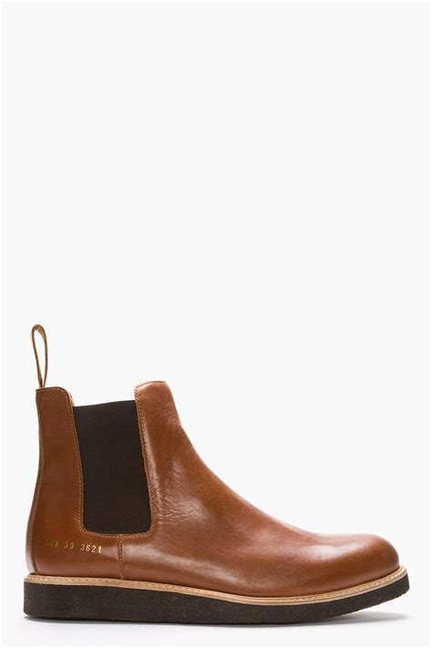 by common projects boots common projects brown leather chelsea boots in brown for