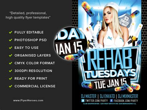 rehab tuesdays nurses flyer template flyerheroes