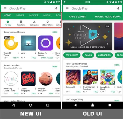 android app on play play store update with ui changes rolling out the android soul