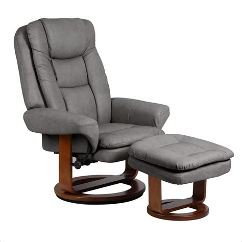 Swivel Recliner Chair With Ottoman Mac Motion Chairs Nubuck Bonded Leather Swivel Recliner With Ottoman In Gun Metal Slate 802 28 103