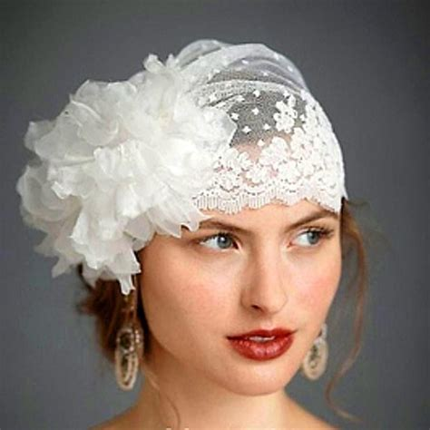 Handmade Veil - swiss dot tulle veil hat with handmade flower lace