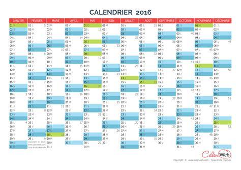 Calendrier Avec Jour Calendrier Annuel 233 E 2016 Avec Jours F 233 Ri 233 S