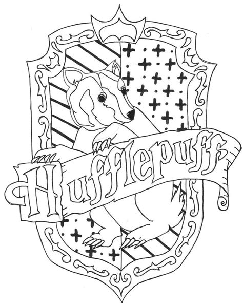 coloring pages harry potter ravenclaw hufflepuff crest by charr3 on deviantart