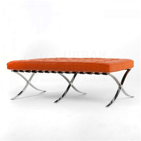 orange leather bench exposition 2 seater bench