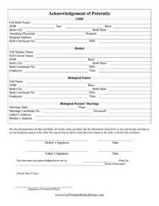 Acknowledgement Letter For Birth Certificate Printable Acknowledgement Of Paternity
