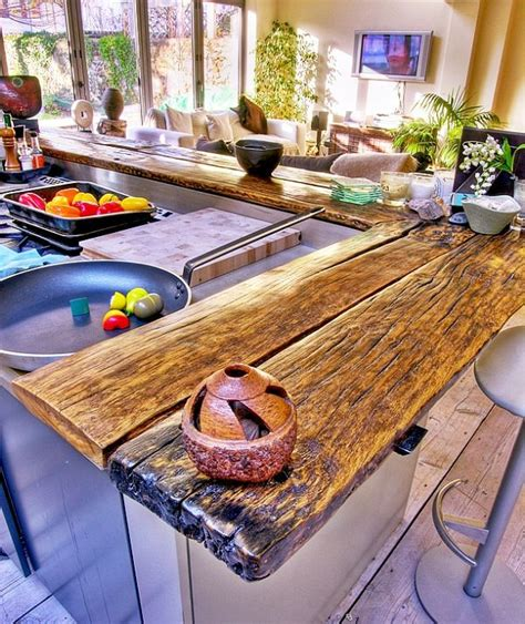 Kitchen Countertop Bar by 58 Cozy Wooden Kitchen Countertop Designs Digsdigs