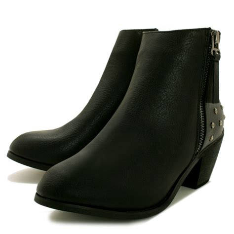 buy twilight cuban heel stud western ankle boots black