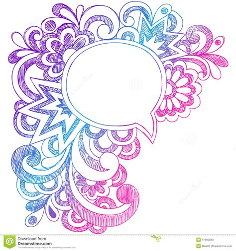 doodle bubbles vector free speech sketchy notebook doodles frame stock images