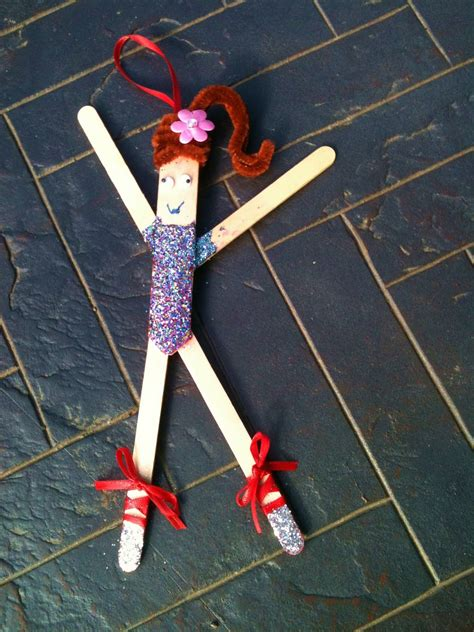 4 crazy kings popsicle stick ballerina ornament