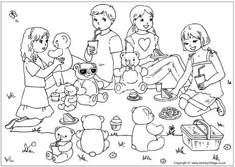 Remembrance Teddy Bears Teddy Bears Picnic Colouring Page