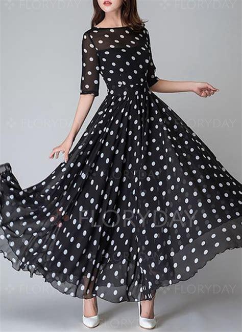 Polka Dot Sleeve A Line Dress polka dot half sleeve maxi a line dress floryday