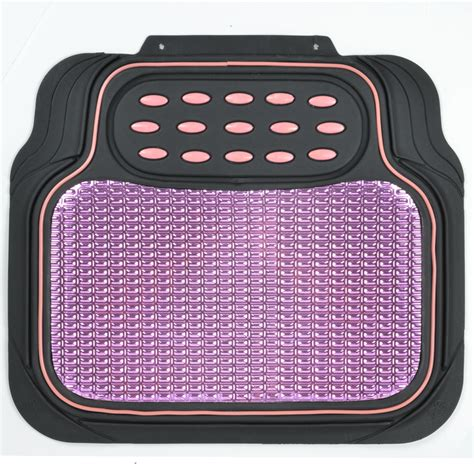 Pink Rubber Car Floor Mats by 4pc Car Rubber Floor Mats Front Rear Pink Metallic Trimmable Heavy Duty