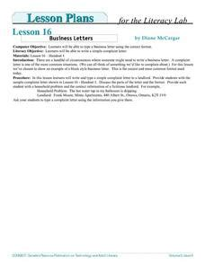 business letters lesson plans business letters literacy lesson plan for higher ed