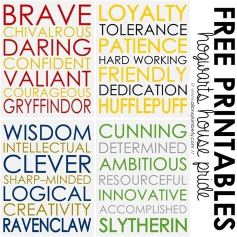 harry potter house traits free printables hogwarts house pride show off your house pride with these harry potter