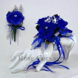 royal blue corsage royal blue silk on royal blue prom corsage boutonniere combo silk and blush