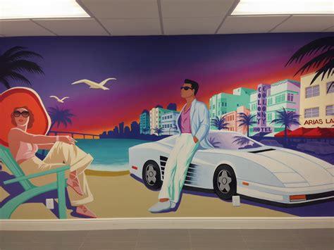 Ferrari Wall Mural miami vice art deco