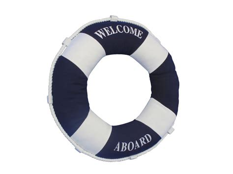 Nautical Pillows Wholesale by Buy Blue Welcome Aboard Decorative Ring Pillow 14