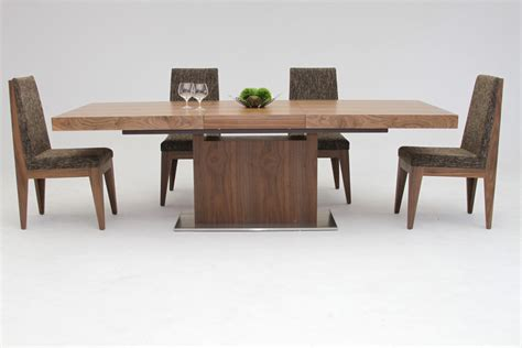 Modern Extending Dining Tables Zenith Modern Walnut Extendable Dining Table