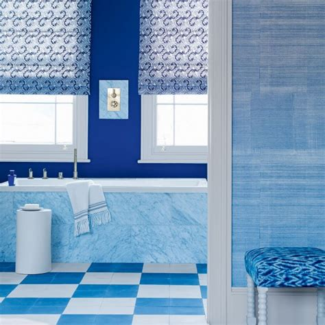 patterned blinds for bathrooms blue bathroom with chequered flooring and patterned blinds