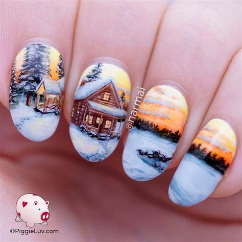 Freehand Nail Designs by Piggieluv Freehand Winter Cabin Landscape Nail