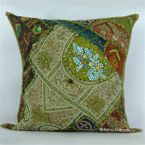 beaded throw pillows antique green heavy beaded embroidered accent throw