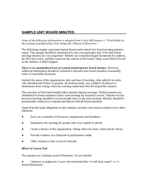 minutes of board meeting template sle unit board meeting minutes free