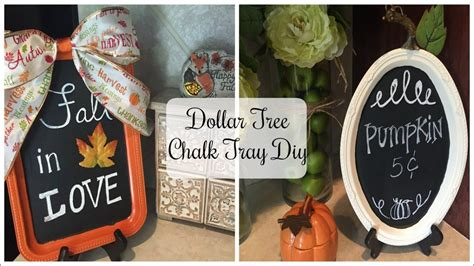 dollar tree diy fall pumpkin chalk tray