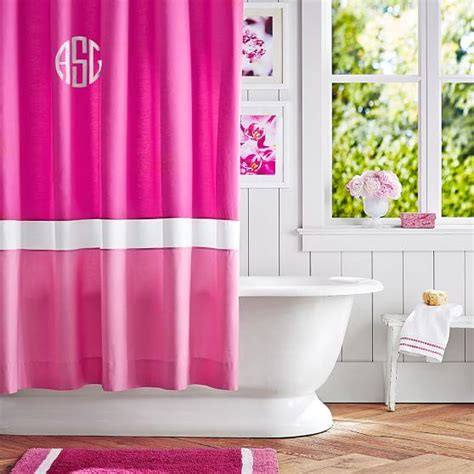 shower curtain pink color block pink magenta bright pink shower curtain