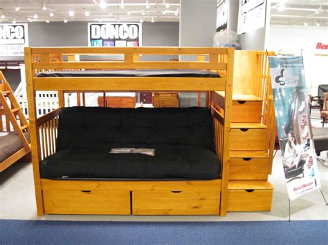 Donco Twin Over Futon Stairway Bunk Bed Honey 200 300
