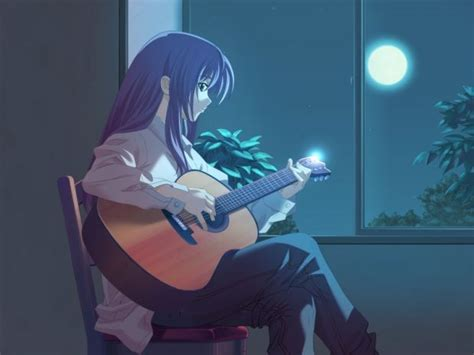 anime girl playing guitar wallpaper sad anime girl in the rain stock free images