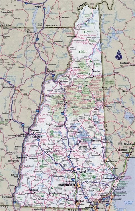 printable vermont road map large detailed roads and highways map of new hshire