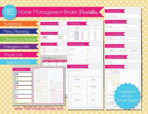 free printable household planner free printable home binder pages calendar template 2016